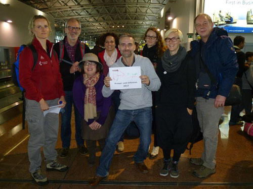 Fam- and presstrip to Burundi. At the airport of Brussels.
